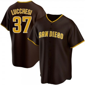 Men's San Diego Padres Joey Lucchesi Brown Road Jersey - Replica