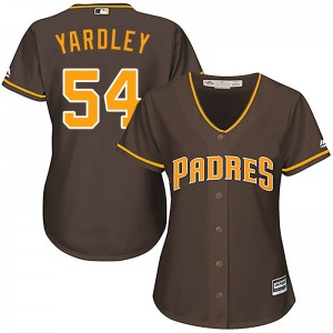 Women's Majestic San Diego Padres Eric Yardley Brown Cool Base Alternate Jersey - Authentic