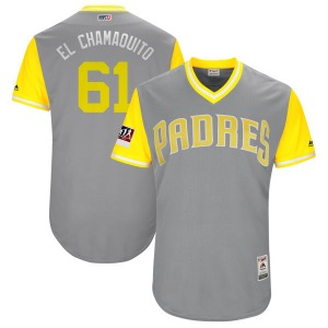 """Youth Majestic San Diego Padres Luis Perdomo Yellow """"EL CHAMAQUITO"""" Gray/ 2018 Players' Weekend Flex Base Jersey - Authentic"""