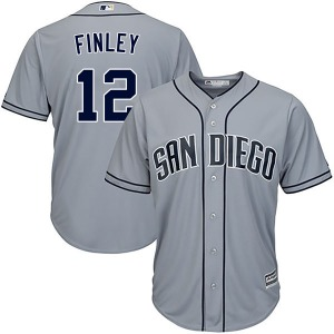 Youth Majestic San Diego Padres Steve Finley Gray Cool Base Road Jersey - Replica
