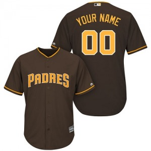 Women's Majestic San Diego Padres Custom Brown Alternate Cool Base Jersey - Replica
